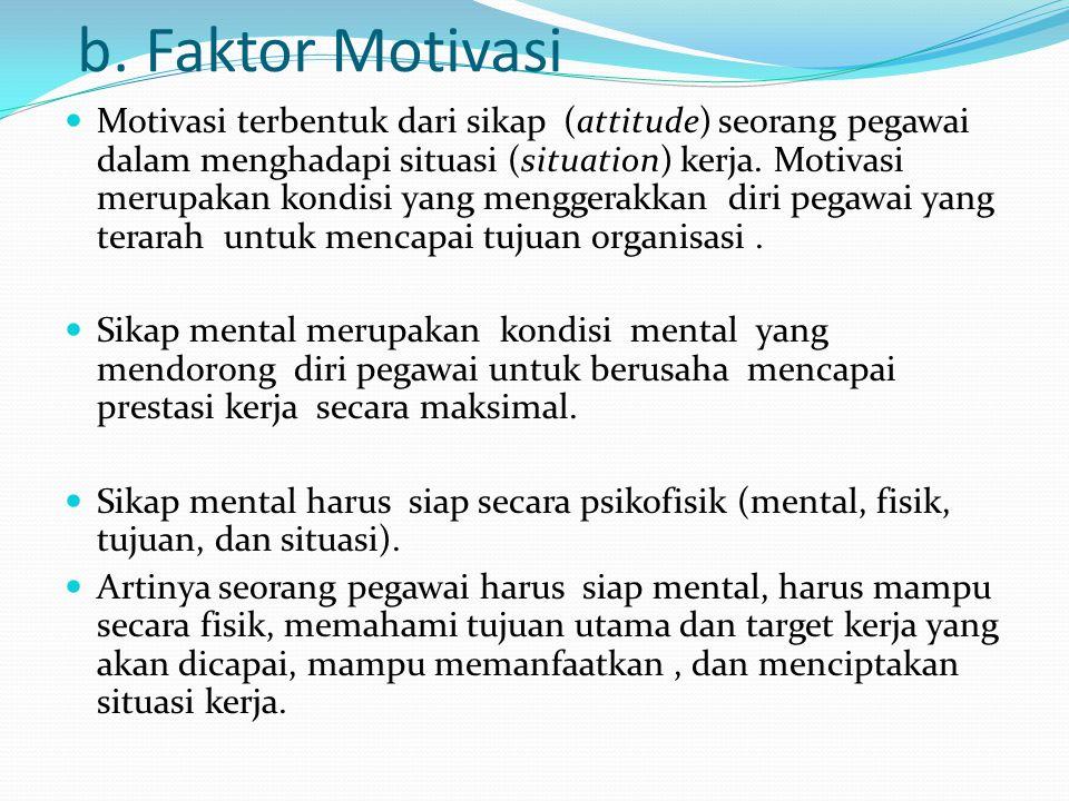 b. Faktor Motivasi Motivasi terbentuk dari sikap (attitude) seorang pegawai dalam menghadapi situasi (situation) kerja. Motivasi merupakan kondisi yan