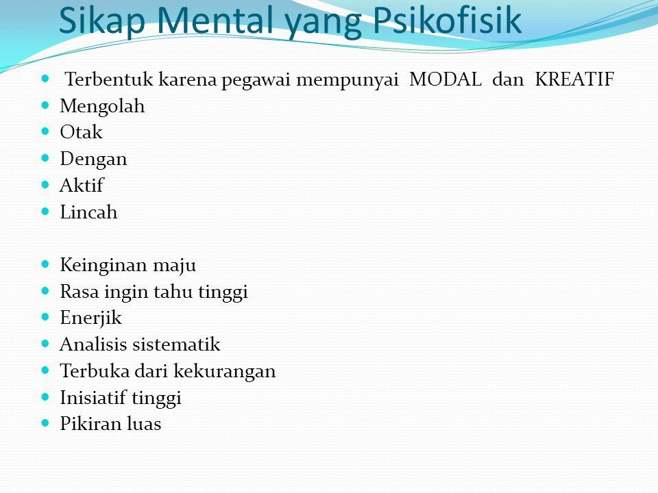 Sikap Mental yang Psikofisik Terbentuk karena pegawai mempunyai MODAL dan KREATIF Mengolah Otak Dengan Aktif Lincah Keinginan maju Rasa ingin tahu tin