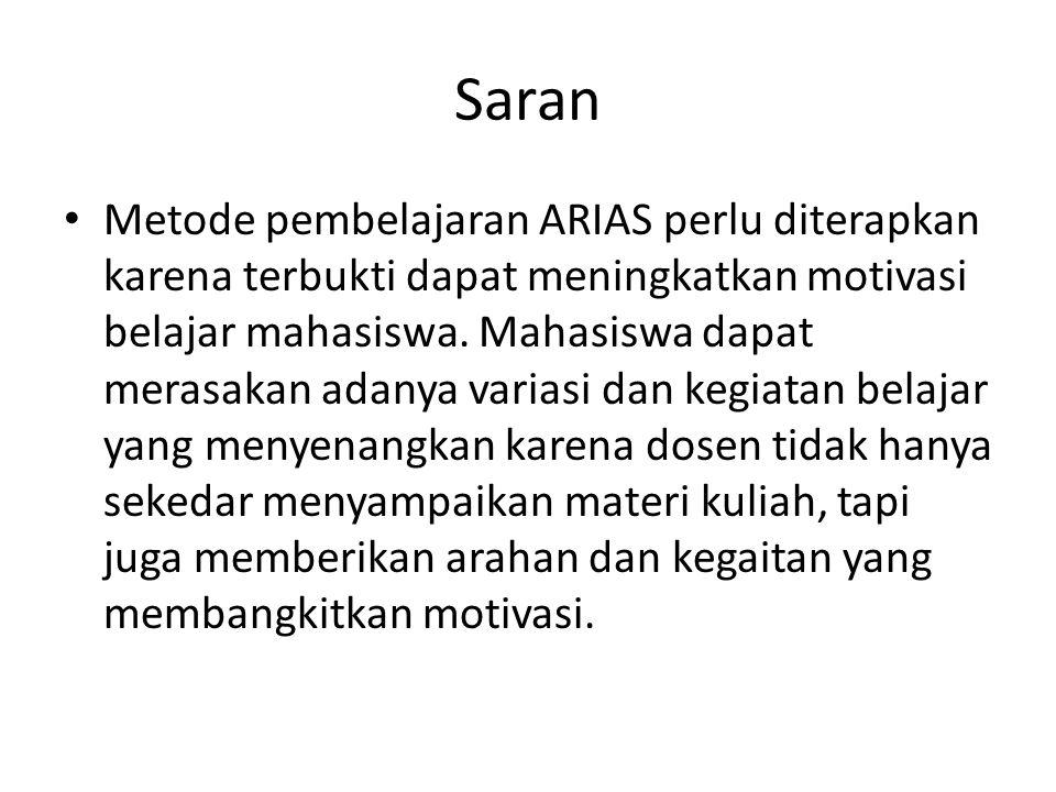 Saran Metode pembelajaran ARIAS perlu diterapkan karena terbukti dapat meningkatkan motivasi belajar mahasiswa.