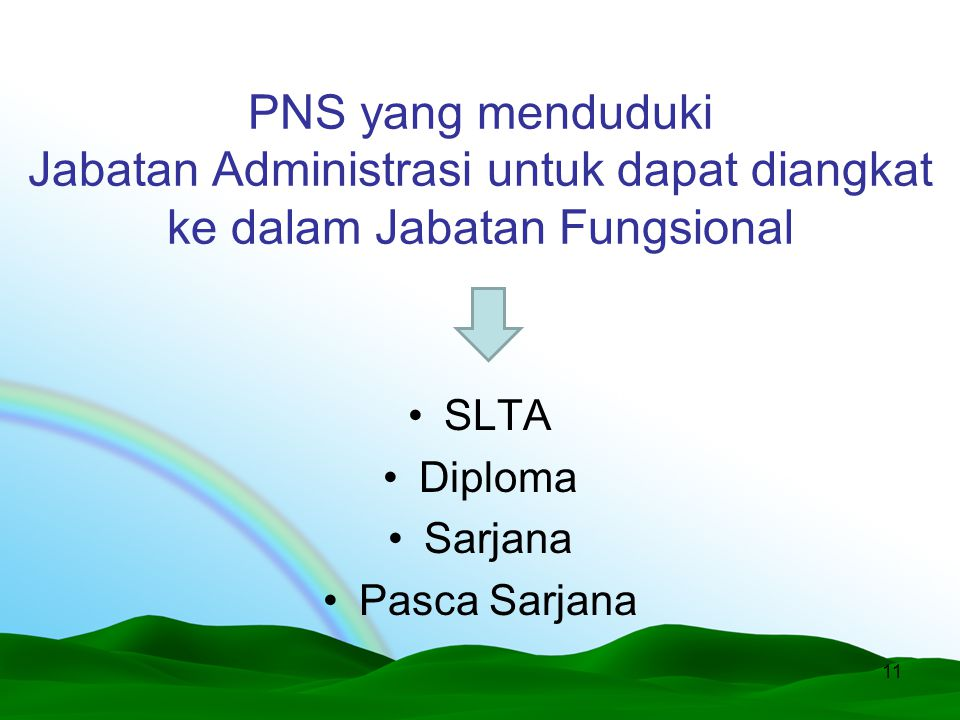 PNS yang menduduki Jabatan Administrasi untuk dapat diangkat ke dalam Jabatan Fungsional SLTA Diploma Sarjana Pasca Sarjana 11