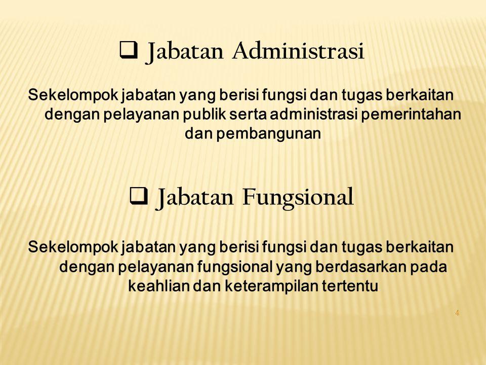  Jabatan Administrasi Sekelompok jabatan yang berisi fungsi dan tugas berkaitan dengan pelayanan publik serta administrasi pemerintahan dan pembangunan  Jabatan Fungsional Sekelompok jabatan yang berisi fungsi dan tugas berkaitan dengan pelayanan fungsional yang berdasarkan pada keahlian dan keterampilan tertentu 4