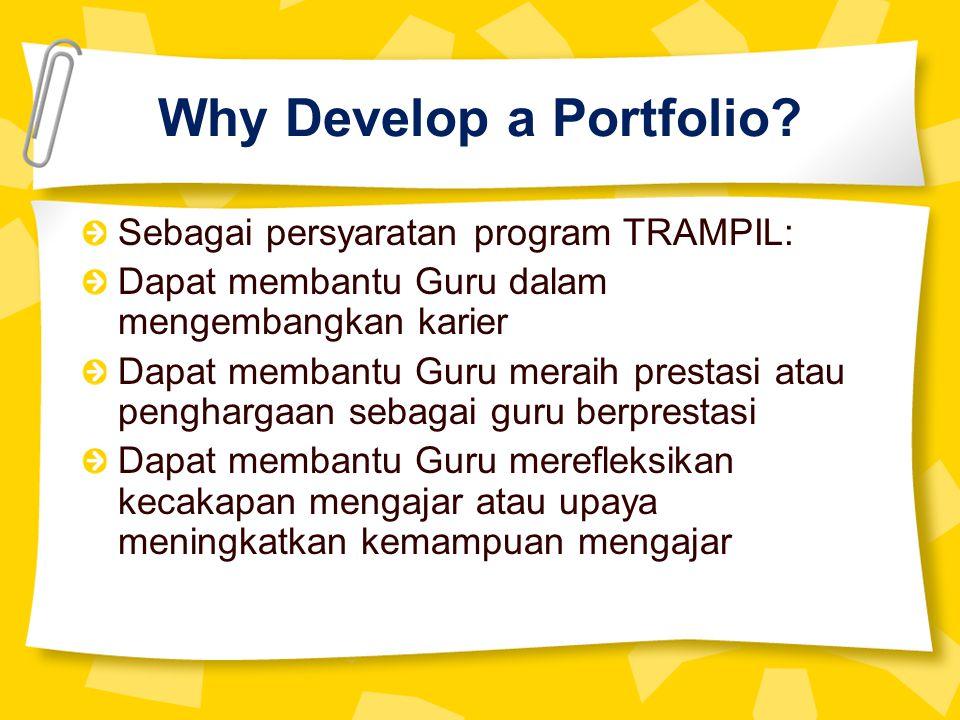 Why Develop a Portfolio.