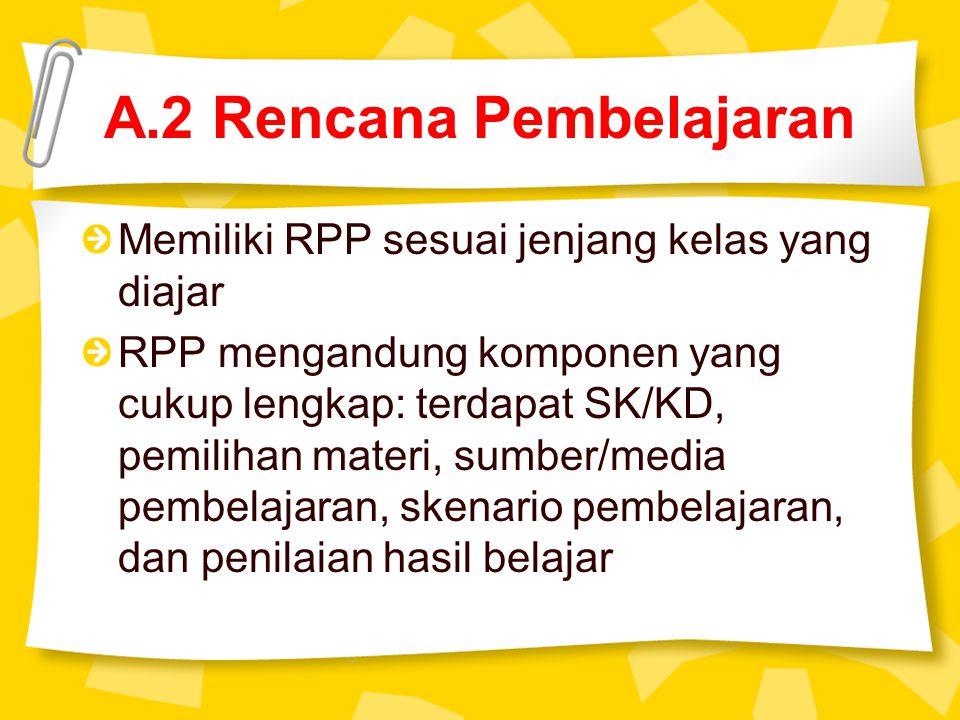 A.2 Rencana Pembelajaran Memiliki RPP sesuai jenjang kelas yang diajar RPP mengandung komponen yang cukup lengkap: terdapat SK/KD, pemilihan materi, sumber/media pembelajaran, skenario pembelajaran, dan penilaian hasil belajar