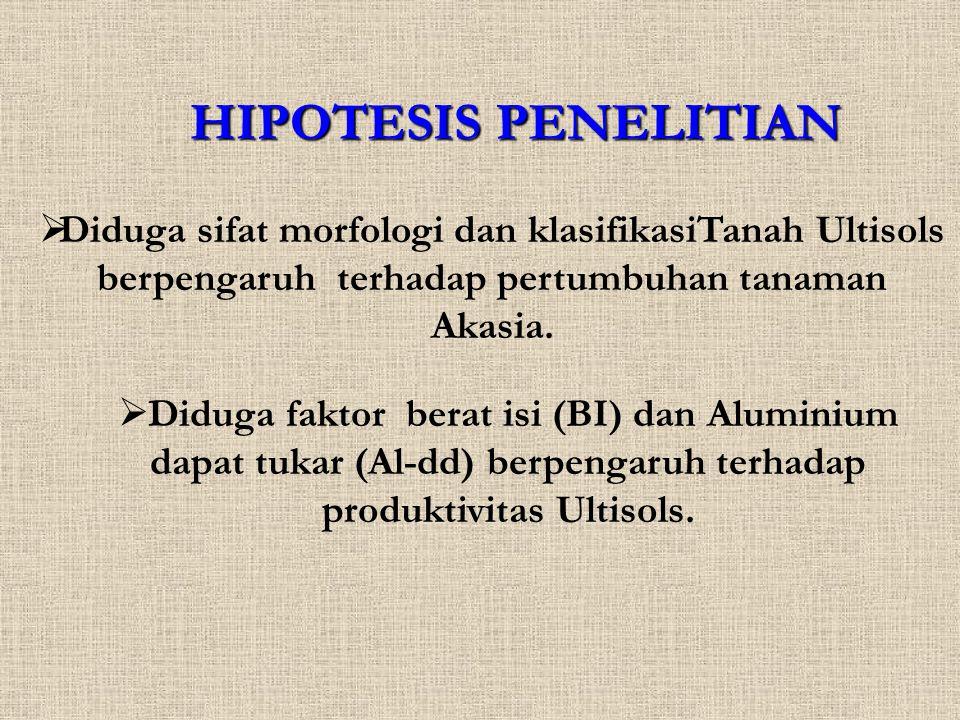 HIPOTESIS PENELITIAN  Diduga sifat morfologi dan klasifikasiTanah Ultisols berpengaruh terhadap pertumbuhan tanaman Akasia.  Diduga faktor berat isi