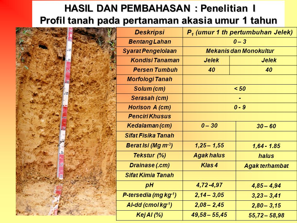 Profil Tanah pada pertanaman akasia umur 3 tahun Profil Tanah pada pertanaman akasia umur 3 tahun DeskripsiP 3 (umur 3 th pertumbuhan Jelek) Bentang Lahan15 – 28 Syarat PengelolaanMekanis dan Monokultur Kondisi TanamanJelekSedang Persen Tumbuh5070 Morfologi Tanah Solum (cm)< 50 Serasah (cm)- Horison A (cm)0 - 7 Penciri Khusus Kedalaman (cm)0 – 3030 – 60 Sifat Fisika Tanah Berat Isi (Mg m -3 )1,22 – 1,381,42- 1,69 Tekstur (%)halus Drainase (.cm)Klas 3baik Sifat Kimia Tanah pH4,71- 4,843,93 – 4,04 P-tersedia (mg kg -1 )2,21 – 3,151,49 – 1,52 Al-dd (cmol kg -1 )6,78 – 10,4514,20 - 15,25 Kej Al (%)55,95 – 65,8580,81 – 82,39