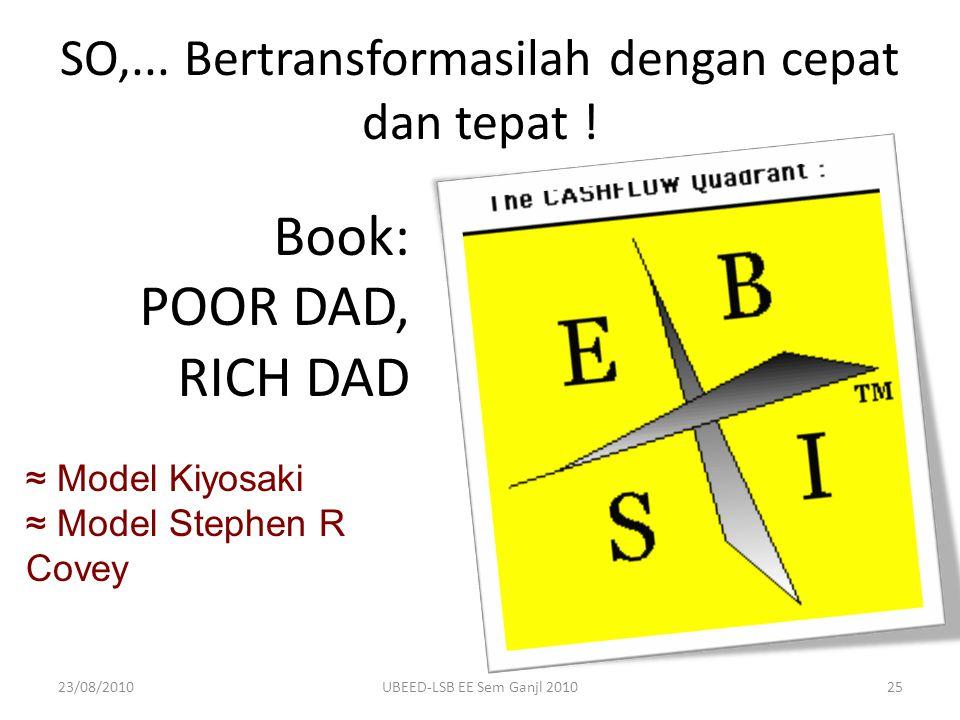 ≈ Model Kiyosaki ≈ Model Stephen R Covey SO,... Bertransformasilah dengan cepat dan tepat ! Book: POOR DAD, RICH DAD 23/08/201025UBEED-LSB EE Sem Ganj