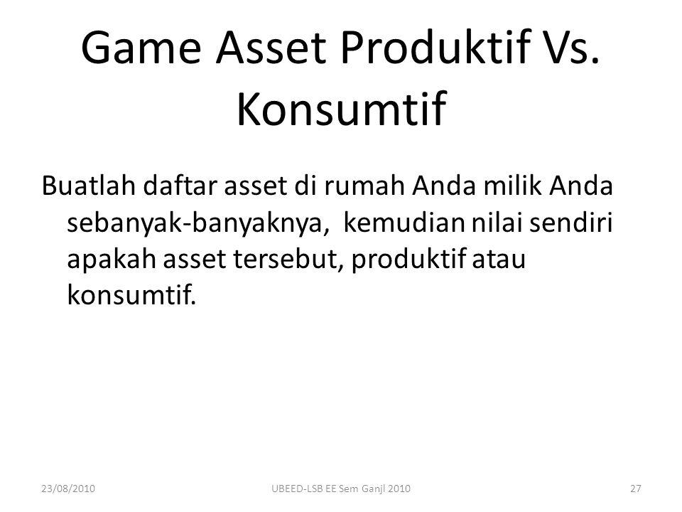 Game Asset Produktif Vs. Konsumtif Buatlah daftar asset di rumah Anda milik Anda sebanyak-banyaknya, kemudian nilai sendiri apakah asset tersebut, pro