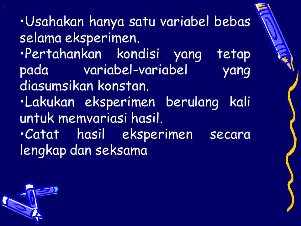 Varibel bebas merupakan variabel yang dapat diubah secara bebas. Variabel terikat adalah variabel yang diteliti, yang perubahannya bergantung pada var