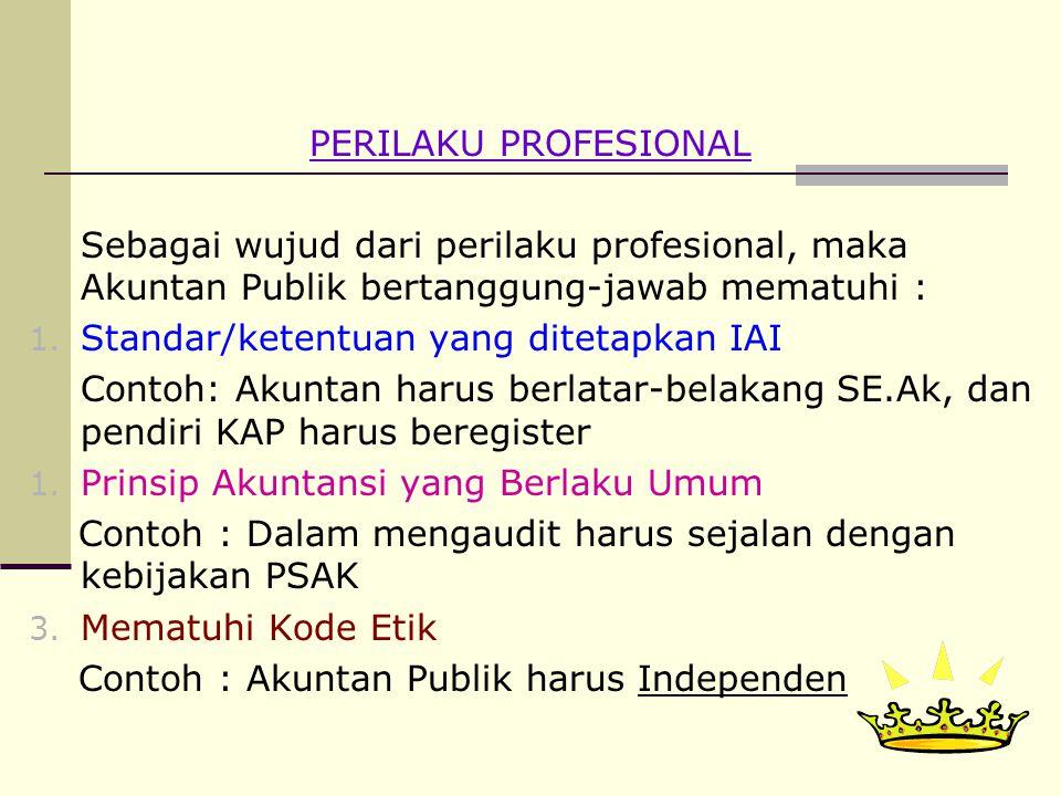 12 PERILAKU PROFESIONAL Sebagai wujud dari perilaku profesional, maka Akuntan Publik bertanggung-jawab mematuhi : 1.