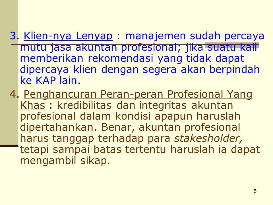 5 3. Klien-nya Lenyap : manajemen sudah percaya mutu jasa akuntan profesional; jika suatu kali memberikan rekomendasi yang tidak dapat dipercaya klien