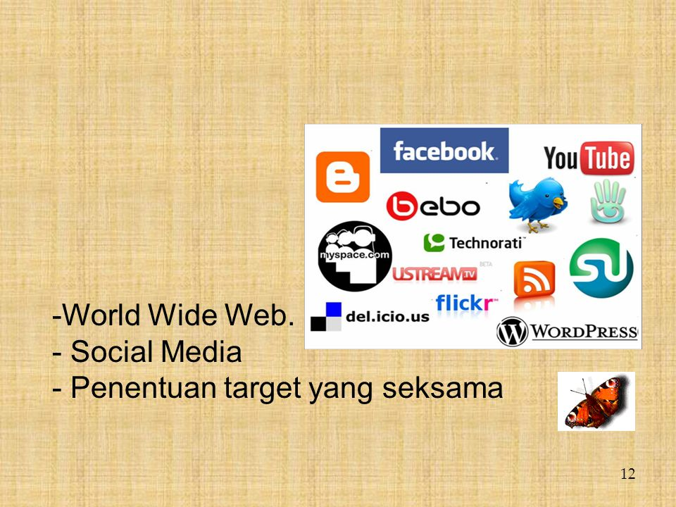 12 -World Wide Web. - Social Media - Penentuan target yang seksama