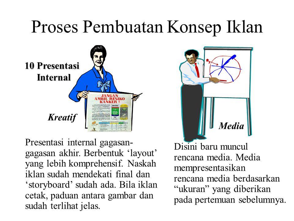 Proses Pembuatan Konsep Iklan 10 Presentasi Internal Internal Kreatif Media Presentasi internal gagasan- gagasan akhir. Berbentuk 'layout' yang lebih