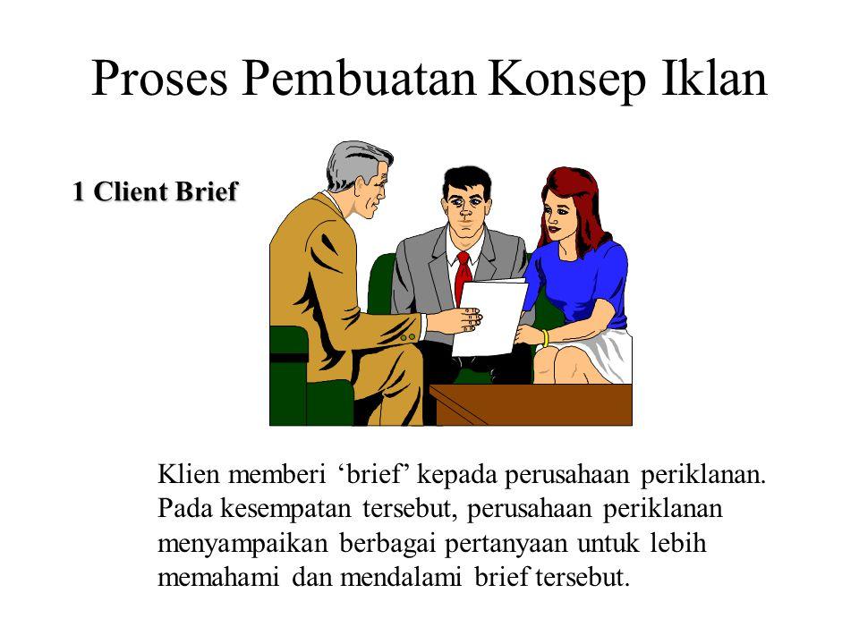 Klien memberi 'brief' kepada perusahaan periklanan. Pada kesempatan tersebut, perusahaan periklanan menyampaikan berbagai pertanyaan untuk lebih memah