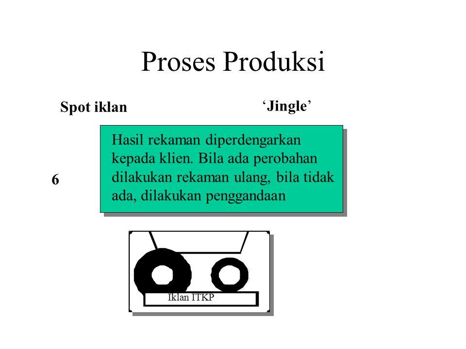 Proses Produksi Spot iklan 'Jingle' Hasil rekaman diperdengarkan kepada klien. Bila ada perobahan dilakukan rekaman ulang, bila tidak ada, dilakukan p
