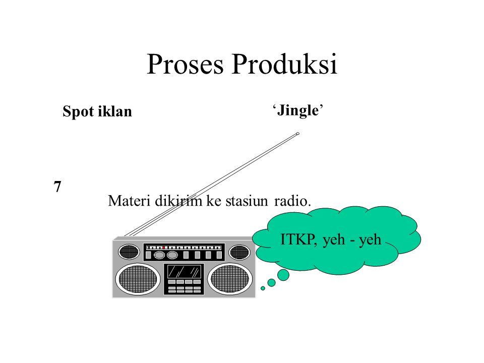 Proses Produksi Spot iklan 'Jingle' Materi dikirim ke stasiun radio. ITKP, yeh - yeh 7