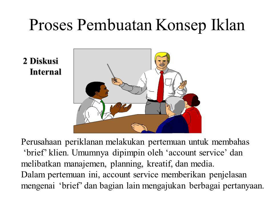 Proses Pembuatan Konsep Iklan 2 Diskusi Internal Internal Perusahaan periklanan melakukan pertemuan untuk membahas 'brief' klien. Umumnya dipimpin ole