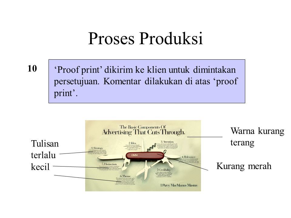 Proses Produksi 10 'Proof print' dikirim ke klien untuk dimintakan persetujuan. Komentar dilakukan di atas 'proof print'. Warna kurang terang Tulisan