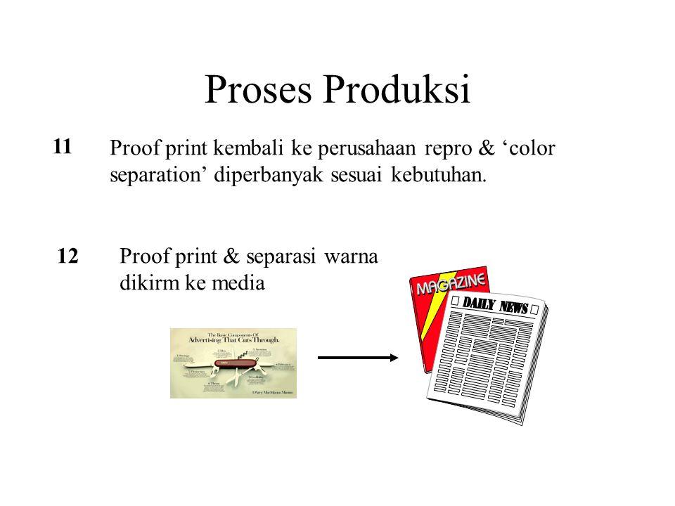 Proses Produksi 11 Proof print kembali ke perusahaan repro & 'color separation' diperbanyak sesuai kebutuhan. 12Proof print & separasi warna dikirm ke