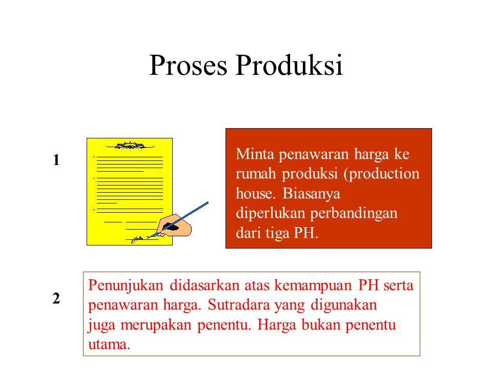Proses Produksi 1 Minta penawaran harga ke rumah produksi (production house. Biasanya diperlukan perbandingan dari tiga PH. Penunjukan didasarkan atas
