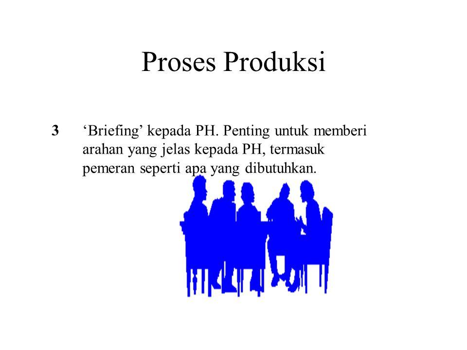 Proses Produksi 3 'Briefing' kepada PH. Penting untuk memberi arahan yang jelas kepada PH, termasuk pemeran seperti apa yang dibutuhkan.