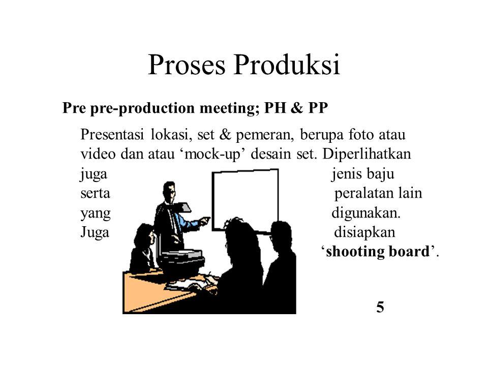 Proses Produksi Presentasi lokasi, set & pemeran, berupa foto atau video dan atau 'mock-up' desain set. Diperlihatkan juga jenis baju serta peralatan