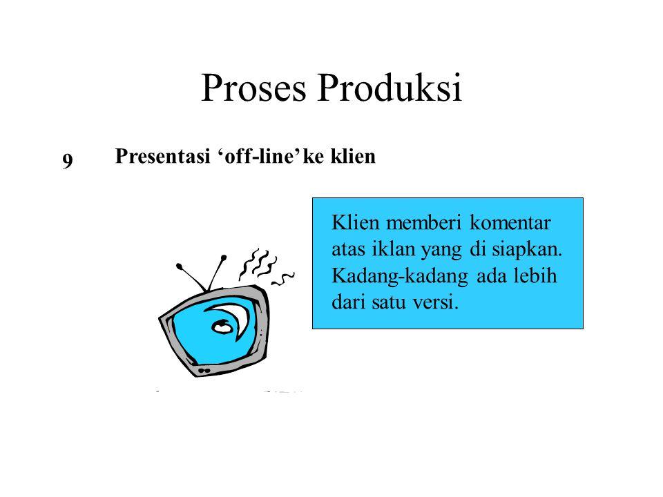 Proses Produksi 9 Presentasi 'off-line' ke klien Klien memberi komentar atas iklan yang di siapkan. Kadang-kadang ada lebih dari satu versi.