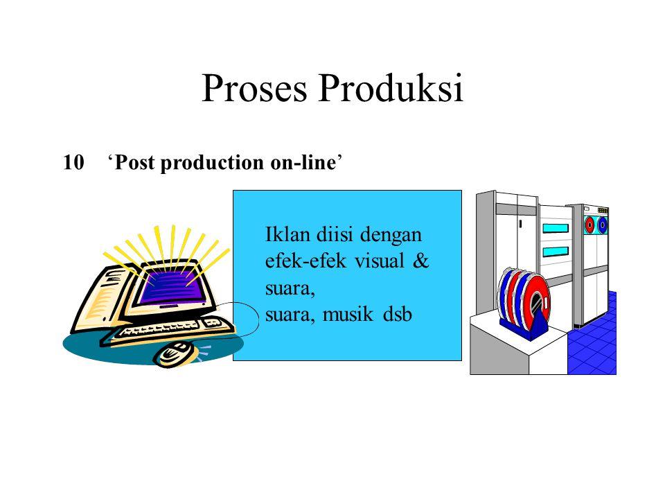 Proses Produksi 10'Post production on-line' Iklan diisi dengan efek-efek visual & suara, suara, musik dsb