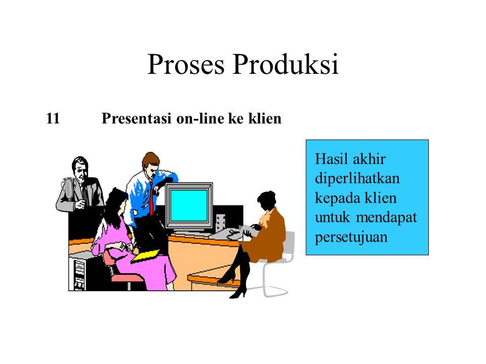 Proses Produksi 11Presentasi on-line ke klien Hasil akhir diperlihatkan kepada klien untuk mendapat persetujuan