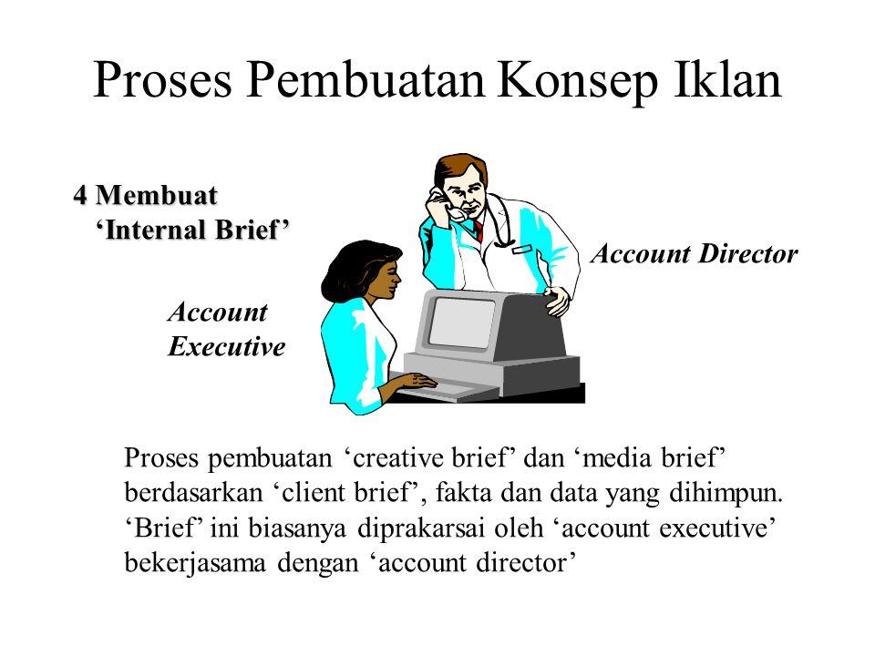Proses Pembuatan Konsep Iklan 4 Membuat 'Internal Brief' 'Internal Brief' Proses pembuatan 'creative brief' dan 'media brief' berdasarkan 'client brie
