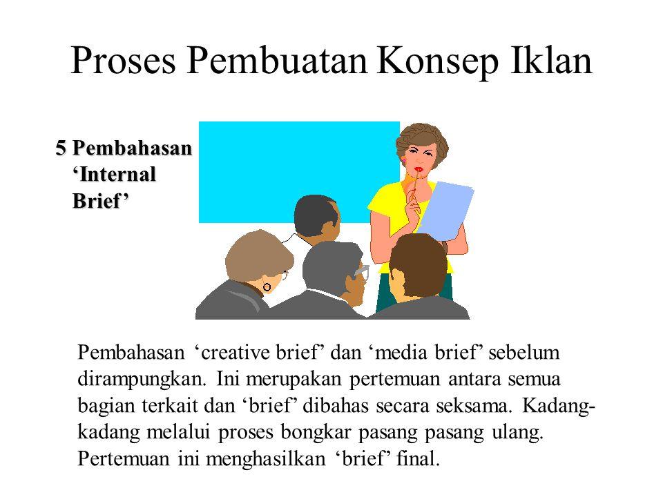 Proses Pembuatan Konsep Iklan 5 Pembahasan 'Internal 'Internal Brief' Brief' Pembahasan 'creative brief' dan 'media brief' sebelum dirampungkan. Ini m