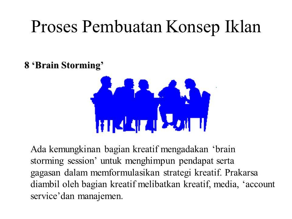 Proses Pembuatan Konsep Iklan 8 'Brain Storming' Ada kemungkinan bagian kreatif mengadakan 'brain storming session' untuk menghimpun pendapat serta ga