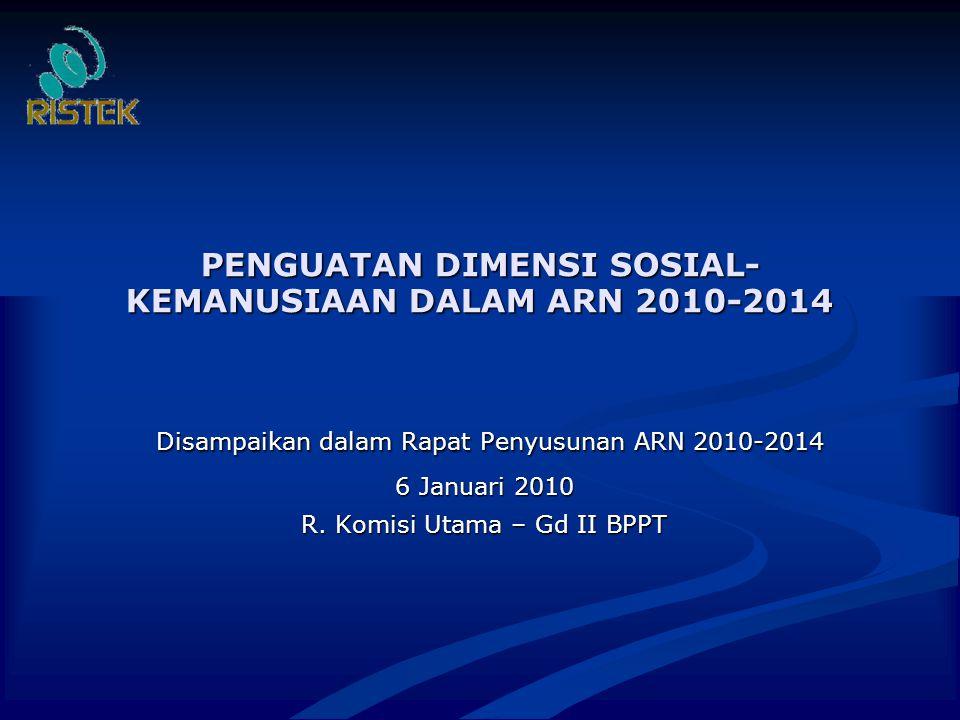 PENGUATAN DIMENSI SOSIAL- KEMANUSIAAN DALAM ARN 2010-2014 Disampaikan dalam Rapat Penyusunan ARN 2010-2014 Disampaikan dalam Rapat Penyusunan ARN 2010-2014 6 Januari 2010 R.