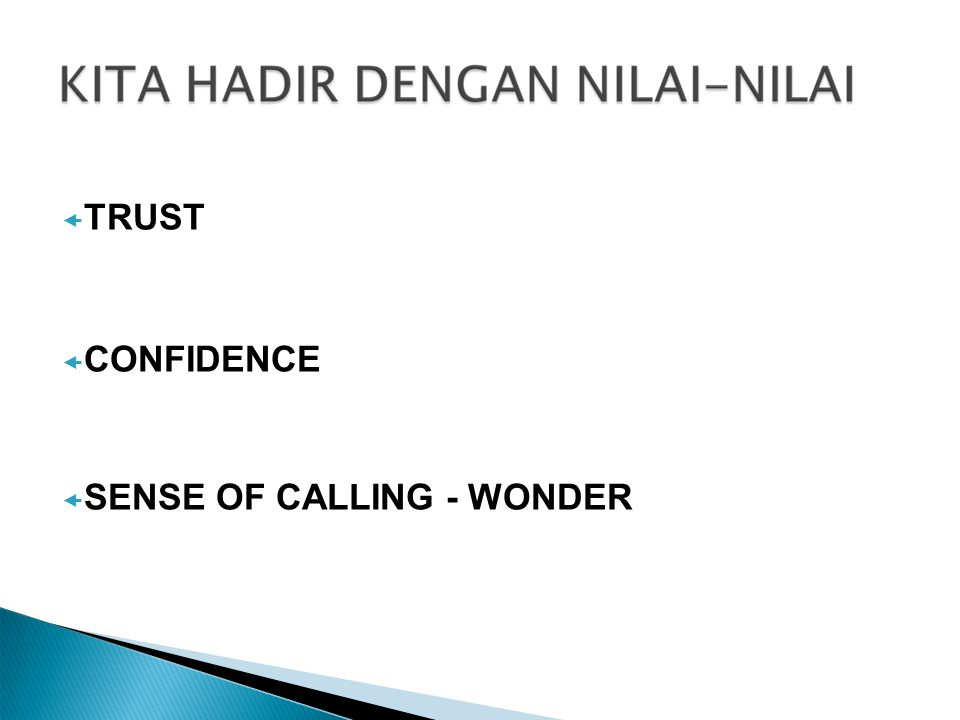  TRUST  CONFIDENCE  SENSE OF CALLING - WONDER