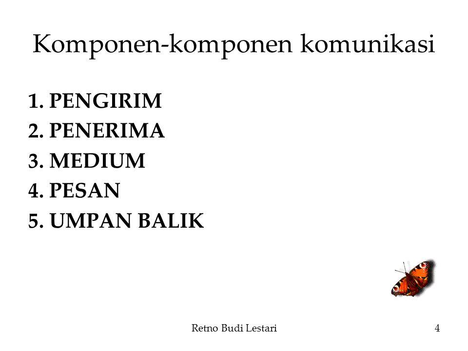 Komponen-komponen komunikasi 1.PENGIRIM 2.PENERIMA 3.MEDIUM 4.PESAN 5.UMPAN BALIK Retno Budi Lestari4