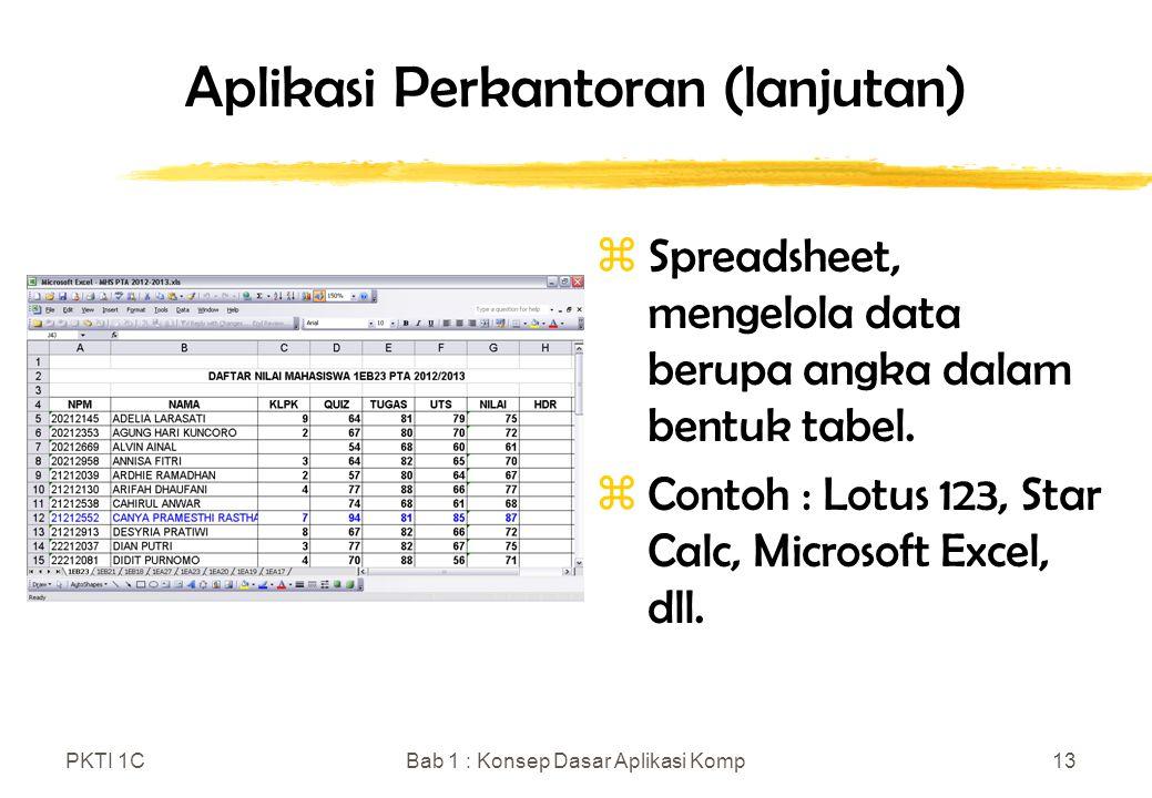 PKTI 1CBab 1 : Konsep Dasar Aplikasi Komp13 zSpreadsheet, mengelola data berupa angka dalam bentuk tabel. zContoh : Lotus 123, Star Calc, Microsoft Ex