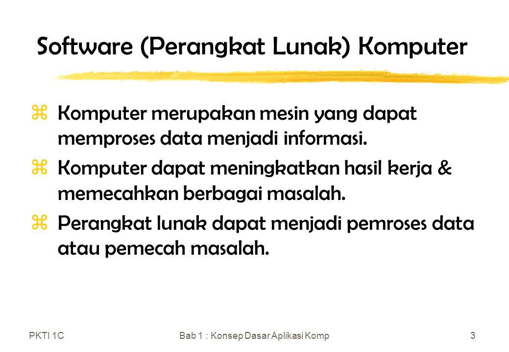 PKTI 1CBab 1 : Konsep Dasar Aplikasi Komp4 Evolusi Perangkat Lunak Komputer zEra Pioneer (1950 – 1970an) yProses Batch yDistribusi Terbatas yPembuatan Khusus (Satu Program dalam satu waktu) ySingle User zEra Stabil (1970 – 1980an) yMulti User yReal Time yData Base yProduk Perangkat Lunak