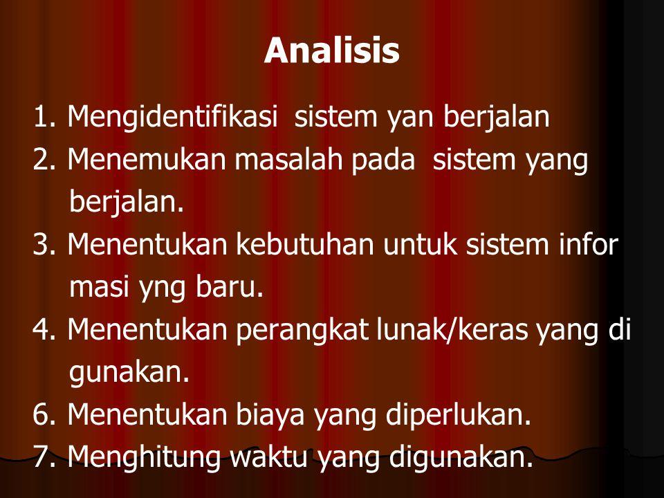 Analisis 1. Mengidentifikasi sistem yan berjalan 2. Menemukan masalah pada sistem yang berjalan. 3. Menentukan kebutuhan untuk sistem infor masi yng b