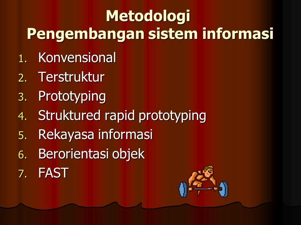 Metodologi Pengembangan sistem informasi 1. Konvensional 2. Terstruktur 3. Prototyping 4. Struktured rapid prototyping 5. Rekayasa informasi 6. Berori