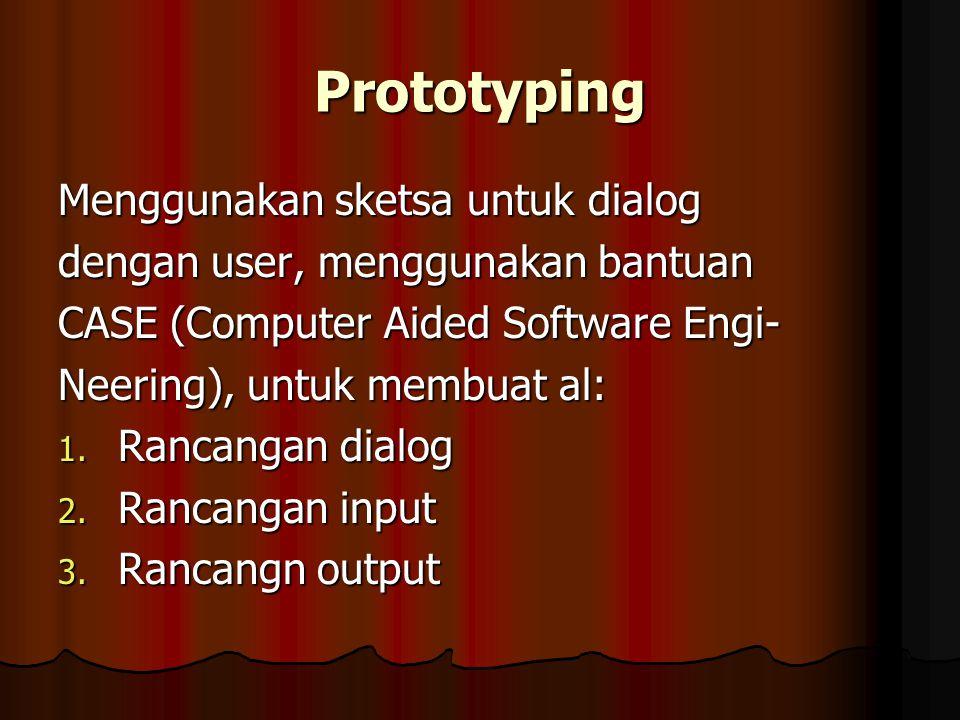Prototyping Menggunakan sketsa untuk dialog dengan user, menggunakan bantuan CASE (Computer Aided Software Engi- Neering), untuk membuat al: 1. Rancan