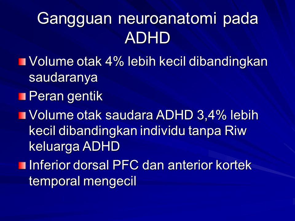 Gangguan neuroanatomi pada ADHD Volume otak 4% lebih kecil dibandingkan saudaranya Peran gentik Volume otak saudara ADHD 3,4% lebih kecil dibandingkan