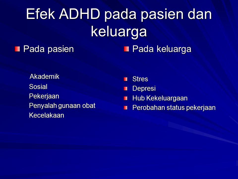 Efek ADHD pada pasien dan keluarga Pada pasien Akademik Akademik Sosial Sosial Pekerjaan Pekerjaan Penyalah gunaan obat Penyalah gunaan obat Kecelakaa