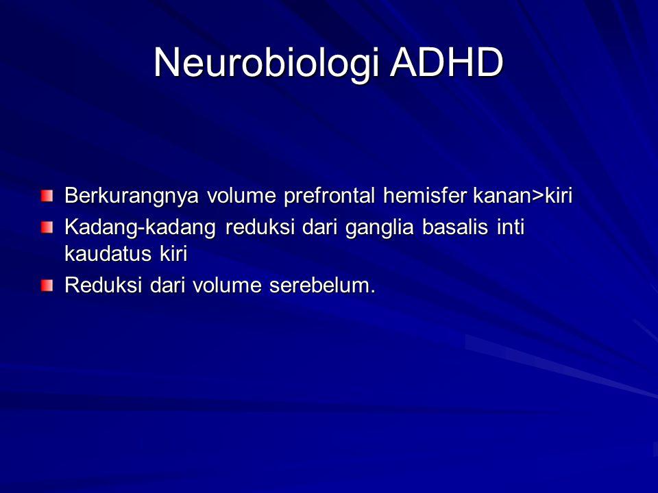 Neurobiologi ADHD Berkurangnya volume prefrontal hemisfer kanan>kiri Kadang-kadang reduksi dari ganglia basalis inti kaudatus kiri Reduksi dari volume