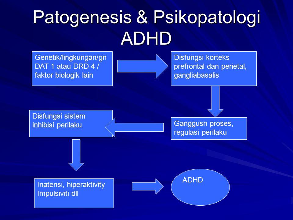 Patogenesis & Psikopatologi ADHD Genetik/lingkungan/gn DAT 1 atau DRD 4 / faktor biologik lain Disfungsi sistem inhibisi perilaku Inatensi, hiperaktiv