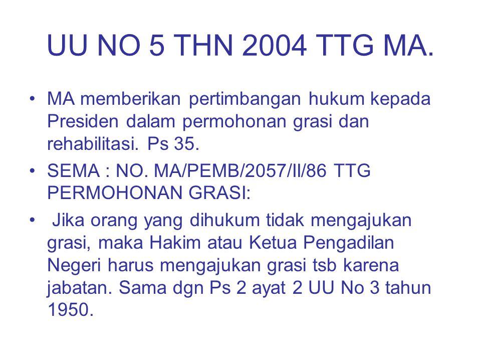 UU NO 5 THN 2004 TTG MA. MA memberikan pertimbangan hukum kepada Presiden dalam permohonan grasi dan rehabilitasi. Ps 35. SEMA : NO. MA/PEMB/2057/II/8