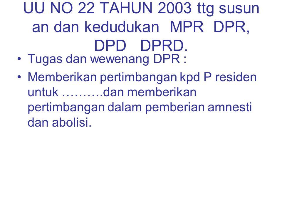 UU NO 22 TAHUN 2003 ttg susun an dan kedudukan MPR DPR, DPD DPRD. Tugas dan wewenang DPR : Memberikan pertimbangan kpd P residen untuk ……….dan memberi