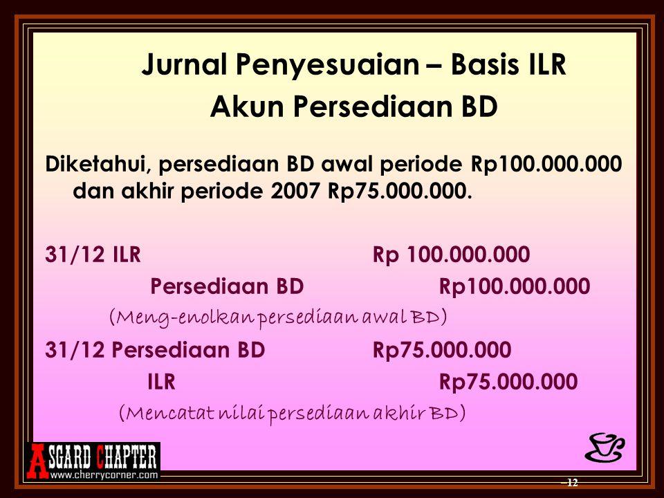 Jurnal Penyesuaian – Basis ILR Akun Persediaan BD Diketahui, persediaan BD awal periode Rp100.000.000 dan akhir periode 2007 Rp75.000.000. 31/12 ILR R