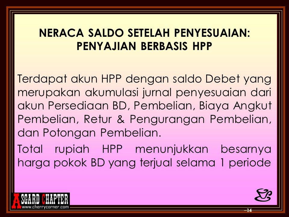 NERACA SALDO SETELAH PENYESUAIAN: PENYAJIAN BERBASIS HPP Terdapat akun HPP dengan saldo Debet yang merupakan akumulasi jurnal penyesuaian dari akun Pe