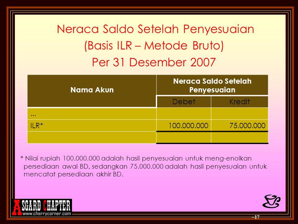 Neraca Saldo Setelah Penyesuaian (Basis ILR – Metode Bruto) Per 31 Desember 2007 * Nilai rupiah 100.000.000 adalah hasil penyesuaian untuk meng-enolka