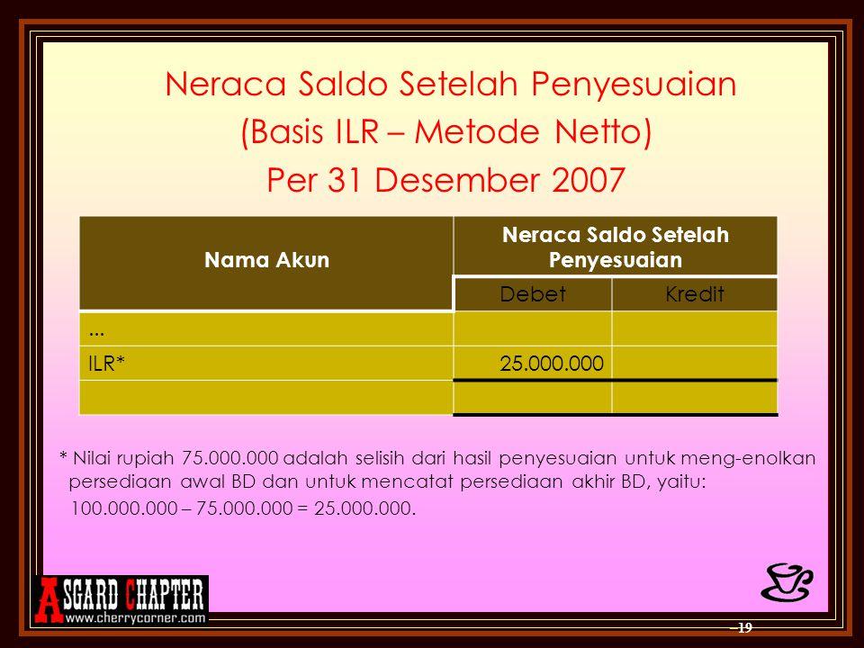 Neraca Saldo Setelah Penyesuaian (Basis ILR – Metode Netto) Per 31 Desember 2007 * Nilai rupiah 75.000.000 adalah selisih dari hasil penyesuaian untuk