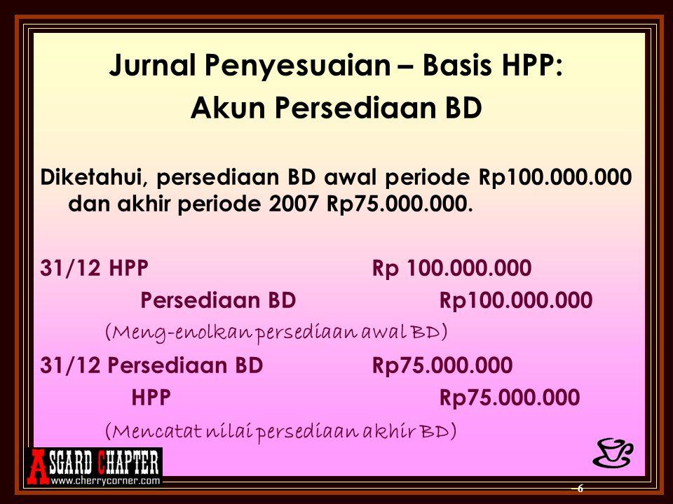 Jurnal Penyesuaian – Basis HPP: Akun Persediaan BD Diketahui, persediaan BD awal periode Rp100.000.000 dan akhir periode 2007 Rp75.000.000. 31/12 HPP